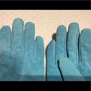 Vintage Accessories - Vintage Leather Driving Gloves Turquoise Medium